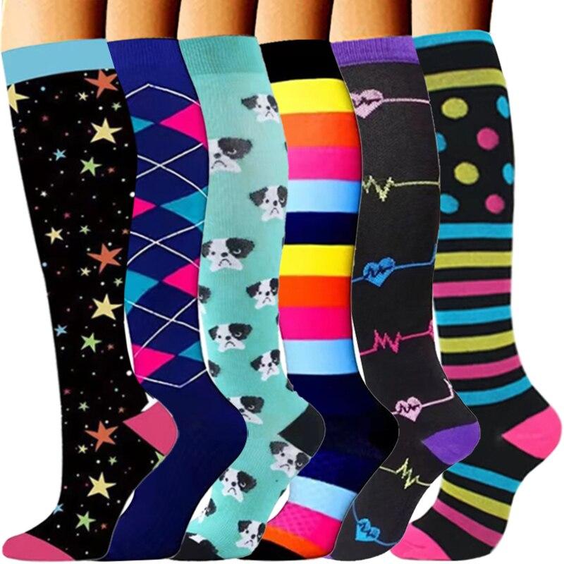 6Pair Quality Compression Socks For Men & Women 20-30mmHg Sport Circulation Best Support Running Marathon Cycling Varicose Veins