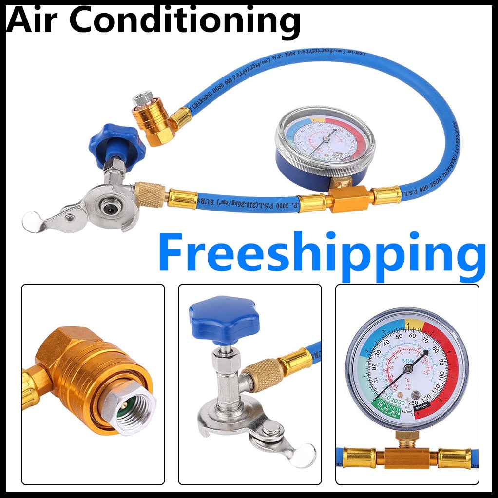 Air Conditioning Tool Refrigerant Recharge Measuring Hose Gas Gauge Automotive supplies Dropship R134A R12 Hose Plastic Metal недорого