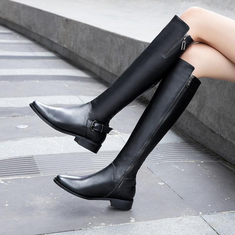 Invierno cremallera lateral Botas Largas cuero genuino conciso tacones bajos mujeres Vintage hasta la rodilla botas zapatos para fiesta de graduación Mujer talla 42 43