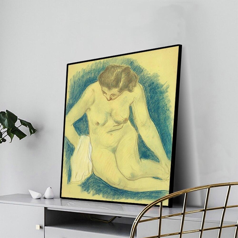 """Cassisy pintura a óleo da lona """"sentado nu visto de cima"""" gauguin arte cartaz imagem decoração da parede moderna casa sala de estar decoração"""