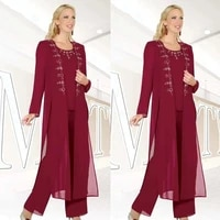 burgundy mother of the bride dresses sheath scoop chiffon beaded with jacket pants suit long groom mother dresses for weddings