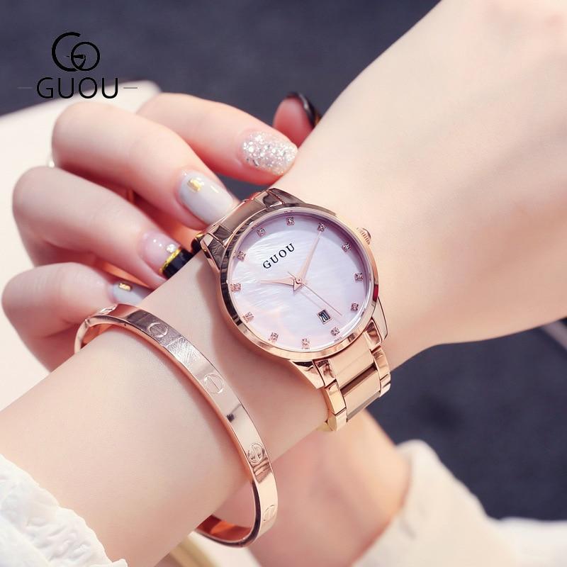 Relogio Feminino Fashion Women Quartz Date Watches Women Rose Gold Watch Casual Stainless Steel Dress Wristwatch zegarki damskie enlarge