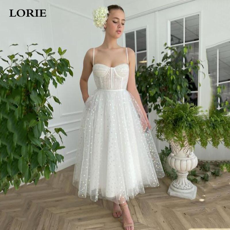 Платье LORIE женское свадебное из фатина, пикантное платье принцессы до щиколотки на бретелях-спагетти, с сердечками, цвета слоновой кости, 2021
