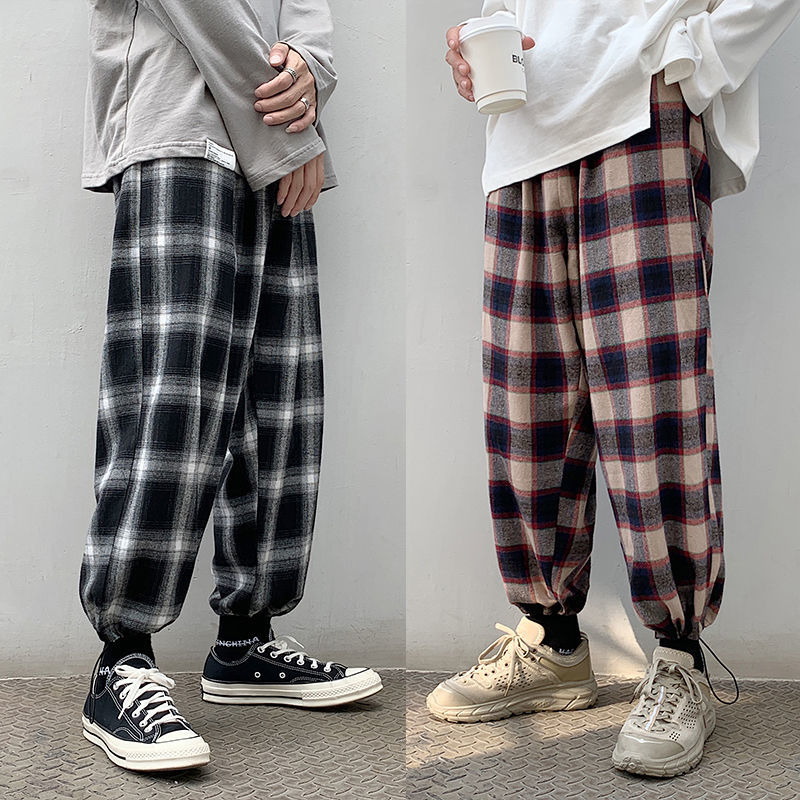 Men's Plaid Casual Harem Pants Korean Man 2020 Loose Ankle-Length Trousers Harajuku Streetwear New Male Clothing Q110701