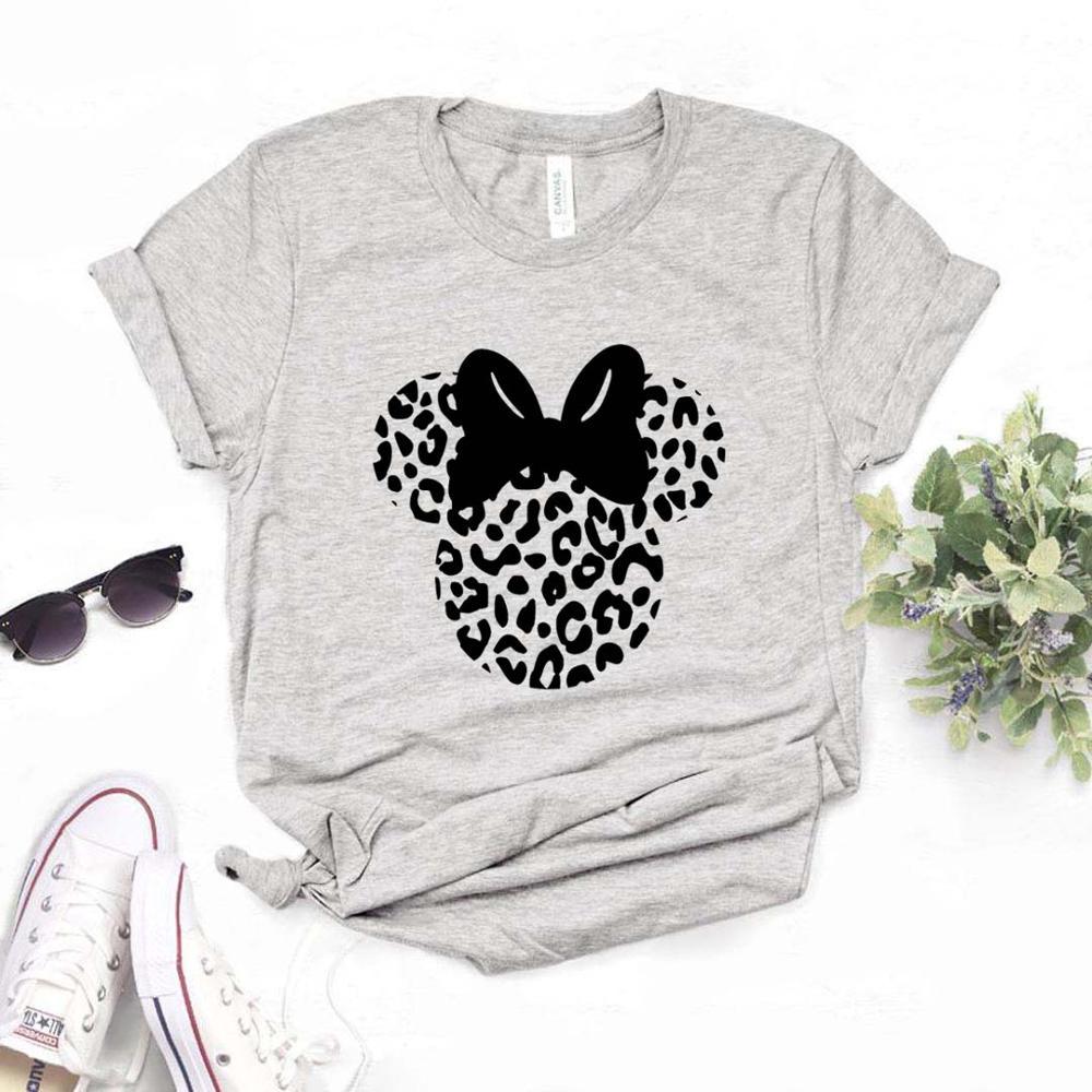 Женские футболки с принтом головы леопарда и мыши, хлопковая Повседневная забавная Футболка для леди, топ, хипстер, 6 цветов, Прямая поставка, FH-1