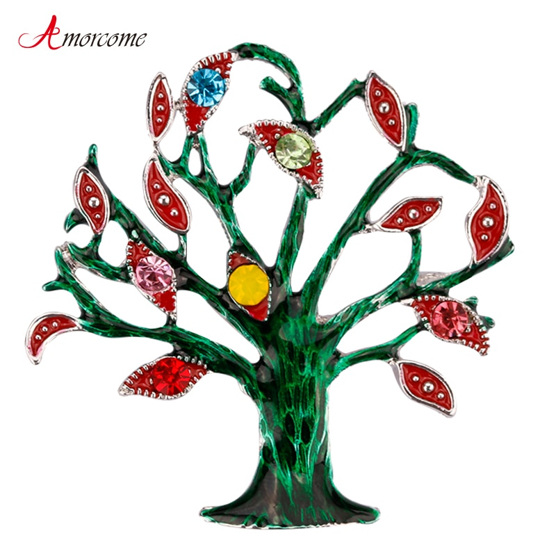 Amorcome esmalte verde árvore da vida broches para festa feminina acessórios elegantes metal grande cristal broche colar pinos jóias
