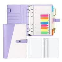 15 pieces a6 pu leather notebook binder budget planner envelopes system with zipper pockets binder dividersneon page markers