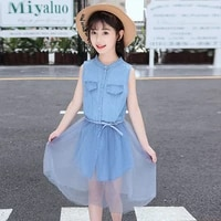 children dresses for girls denim dress summer fashion girls clothing party princess dress for kids clothes 5 6 7 8 9 10 12 years