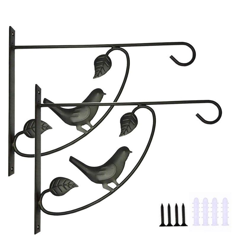 Cesta hierro forjado soporte gancho soporte linterna, maceta colgador de planta adecuado para comedero de pájaros colgante interior al aire libre