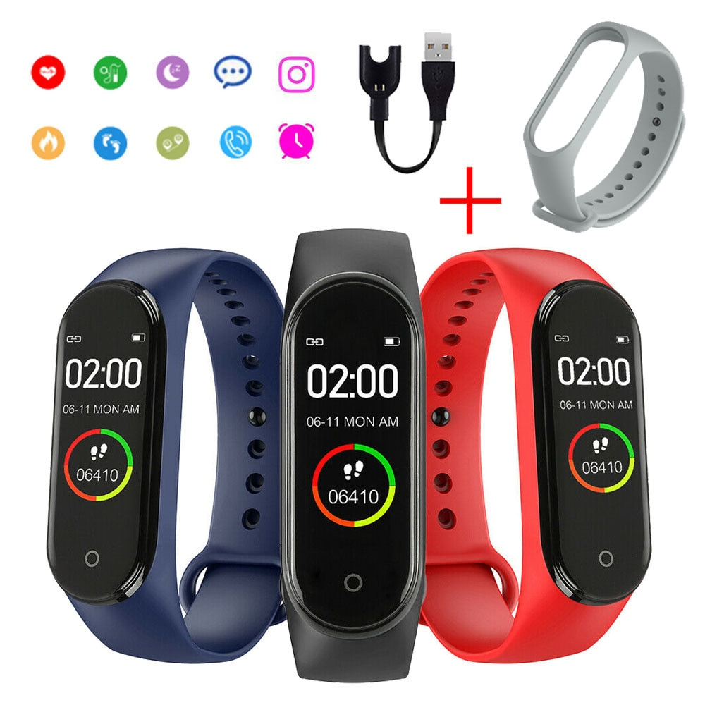 Color Screen Men's Electronic Couple Watch Heart Rate Monitor Message Reminder Clock Pedometer Bluetooth Wearable Device Women