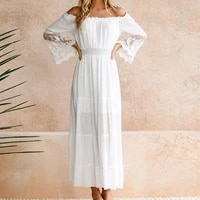 lace crochet off shoulder women dress double layers flared sleeve white long dress for vacation
