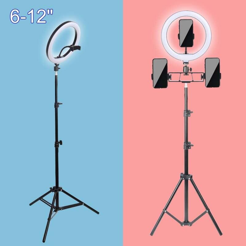 Кольцевой светильник для макияжа, LED ламсветильник с регулируемой яркостью, со штативом, для фото, видеокамеры, телефона