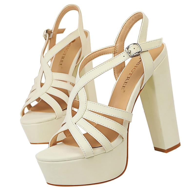 2020 feminino 13cm sandálias de salto alto casamento 4.5cm plataforma bloco saltos gladiador chunky sandles fetiche nupcial stripper festa sapato
