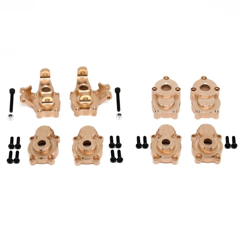 8 قطعة من النحاس الأمامي والخلفي البوابة محرك الإسكان غطاء التوجيه المفاصل ل YK4102 YK4103 YK4082 YiKong RC الزاحف أجزاء