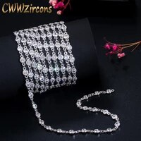 cwwzircons 50cm sparkly round cubic zirconia stone bead diy long necklace pendant anklet bracelet link chain jewelry making d005