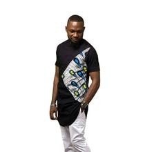 African fashion men's shirts dashiki print tshirt custom made Ankara tops man patchwork shirt Africa clothing