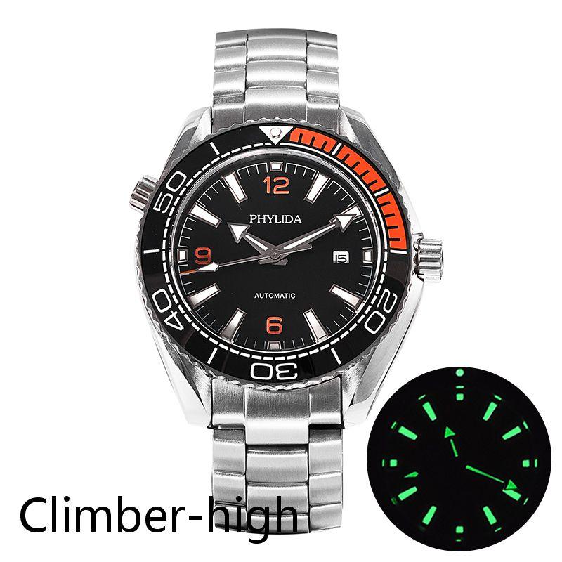 Reloj Automático de 43,5mm para hombre, reloj de pulsera mecánico con inserto de cerámica negro/naranja y cristal de zafiro para homenaje al Mar Negro