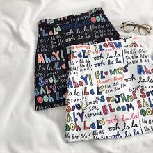 HELIAR 2020 New Women Harajuku Pencil Skirts Colorful Cartoon Letters Printing High Waist Slim Midi Split Sexy Female Skirts