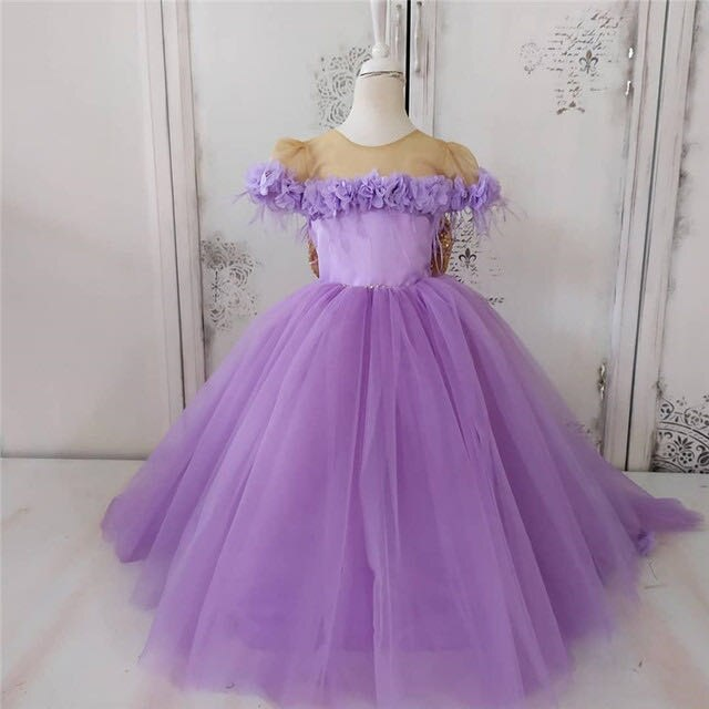 Lilac Infant Toddler Baby Girls Dresses Princess Ball Gown Flowers Little Girl Birthday Dresses Pageant Dresses Gown Bow Back enlarge