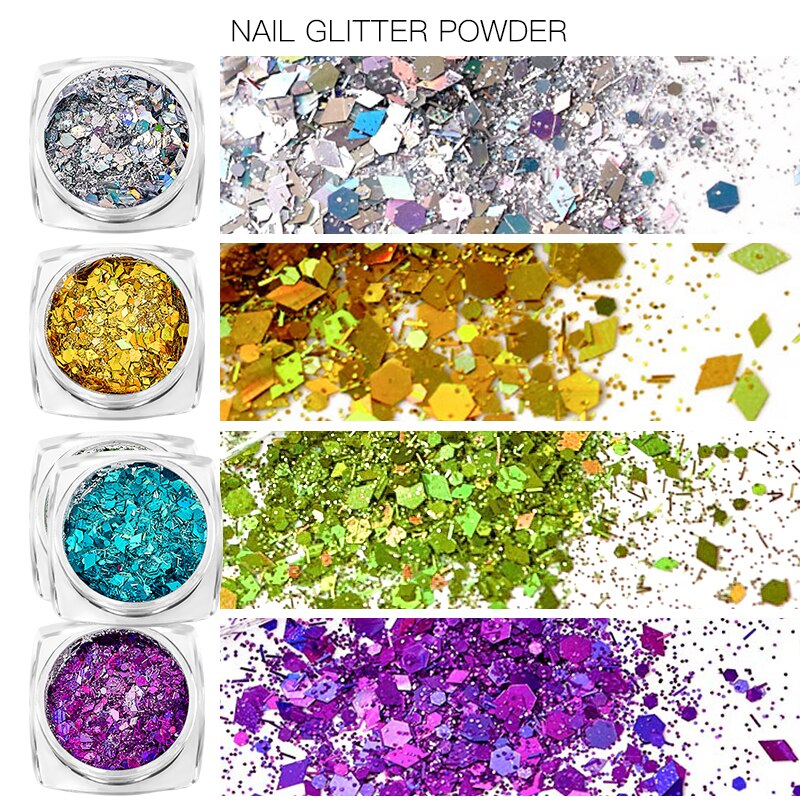 6pcs/set Nail Glitter Powder Mixed Sparkly Pigment Paillette Sequin Nail Art Dust Powder Charm DIY M