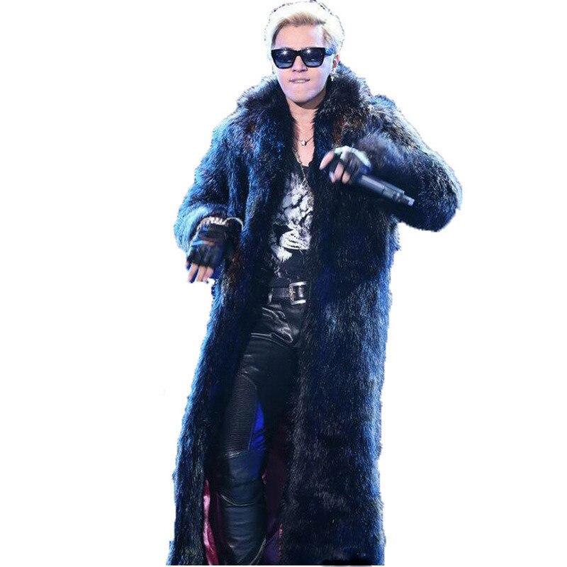 2021 الشتاء شحن مجاني 2021 جديد طويل الفراء الأسود سترة طويلة الرجال السود الفراء طوق سترة الشتاء الموضة
