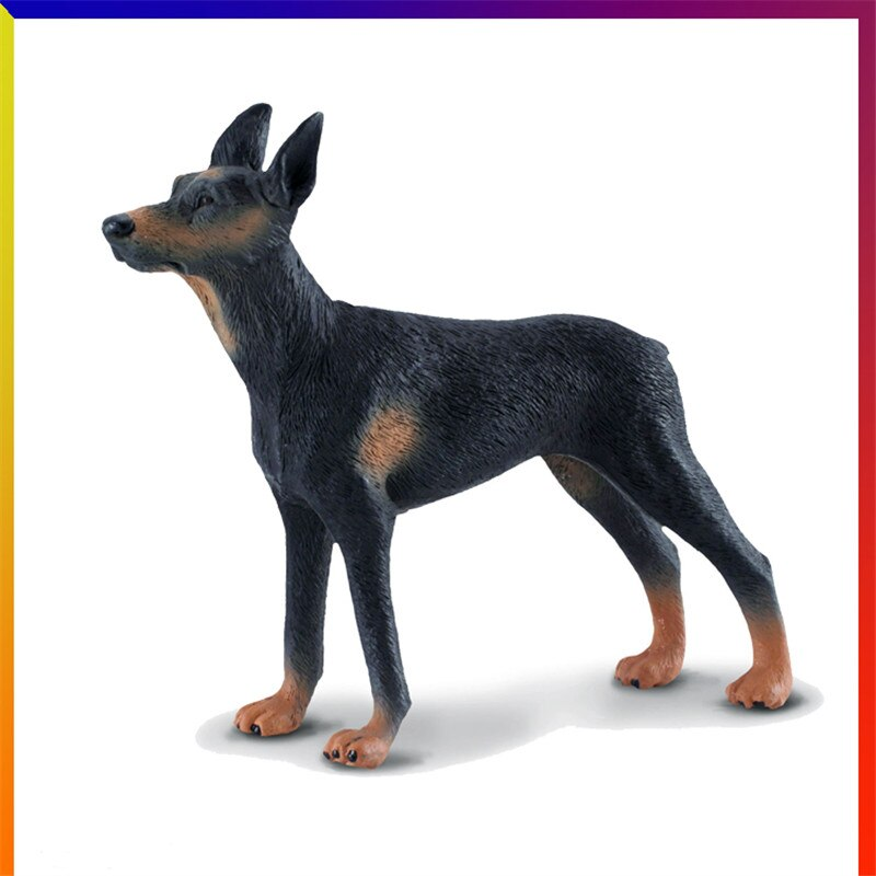 Simulación Animal resina mascota perro escultura artesanía familia granja Dobermann hogar Sala TV armario decoración M2949