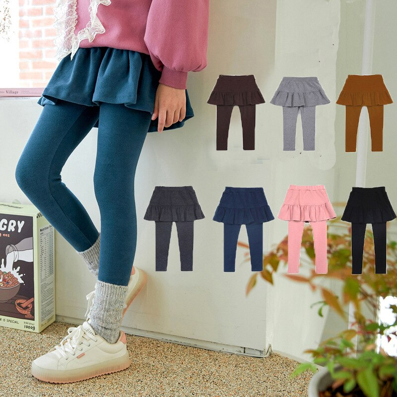 Girls Leggings Kids Cotton Skirt-pants Children's Thicken Skirt Pant Teenagers Casual Solid Color Clothing 2021 Autumn Winter