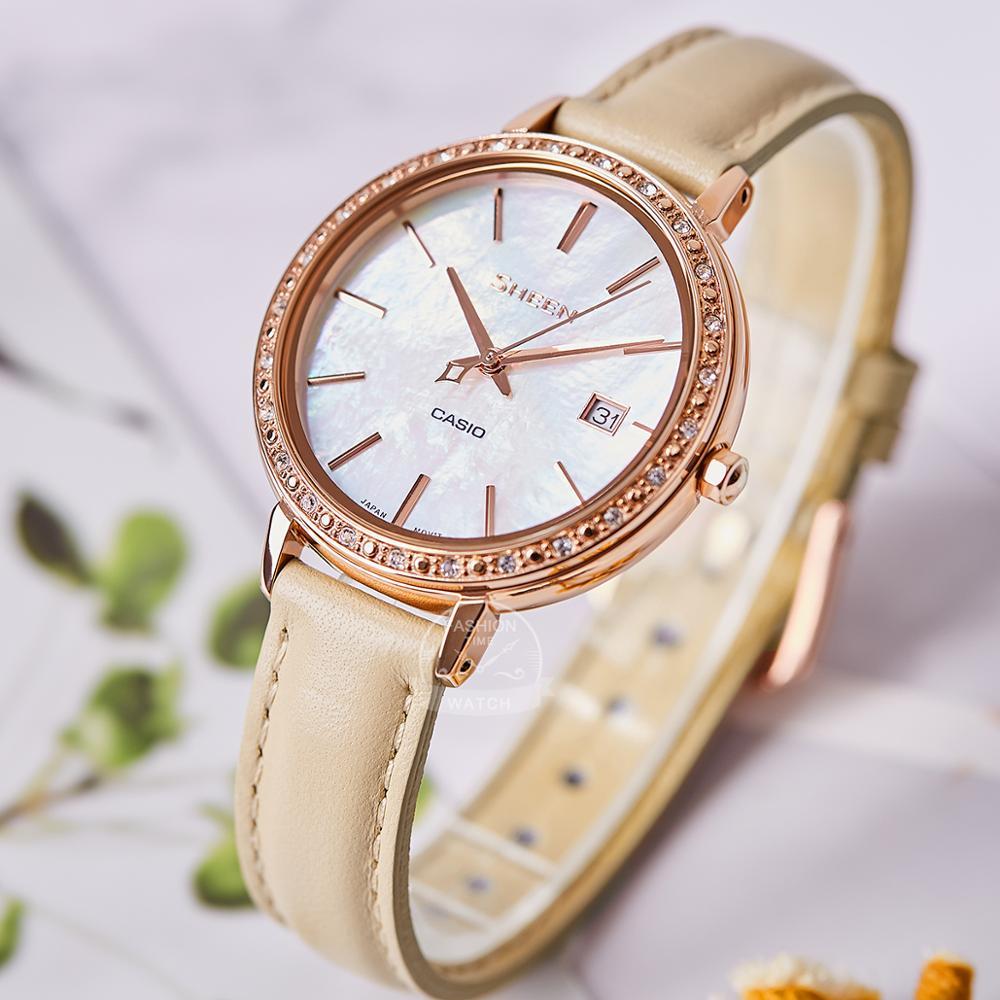 Casio watch Swarovski Crystal women watches top brand luxury set ladies Waterproof Quartz wristwatch Sport clock часы SHE4052PG enlarge