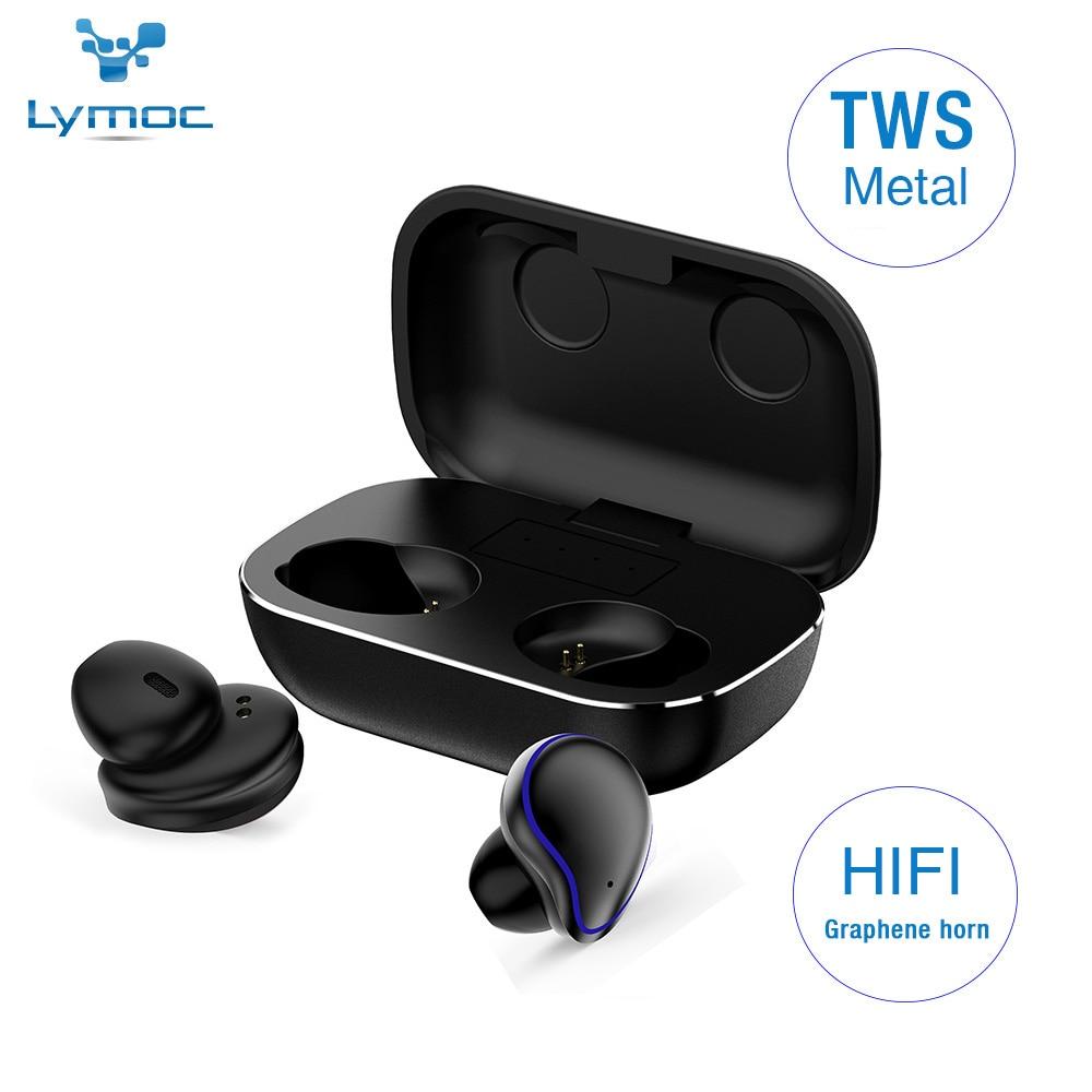 LYMOC Metal Headphones TWS 5.0 Hi-Fi Bluetooth Earphones Wireless Headsets CVC8.0 Noise Cancelling IPX6 Waterproof Mems HD Mic