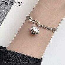 Foxanry 925 Sterling Silver Bracelet for Women New Trendy Elegant Vintage Creative Splicing Chain LO