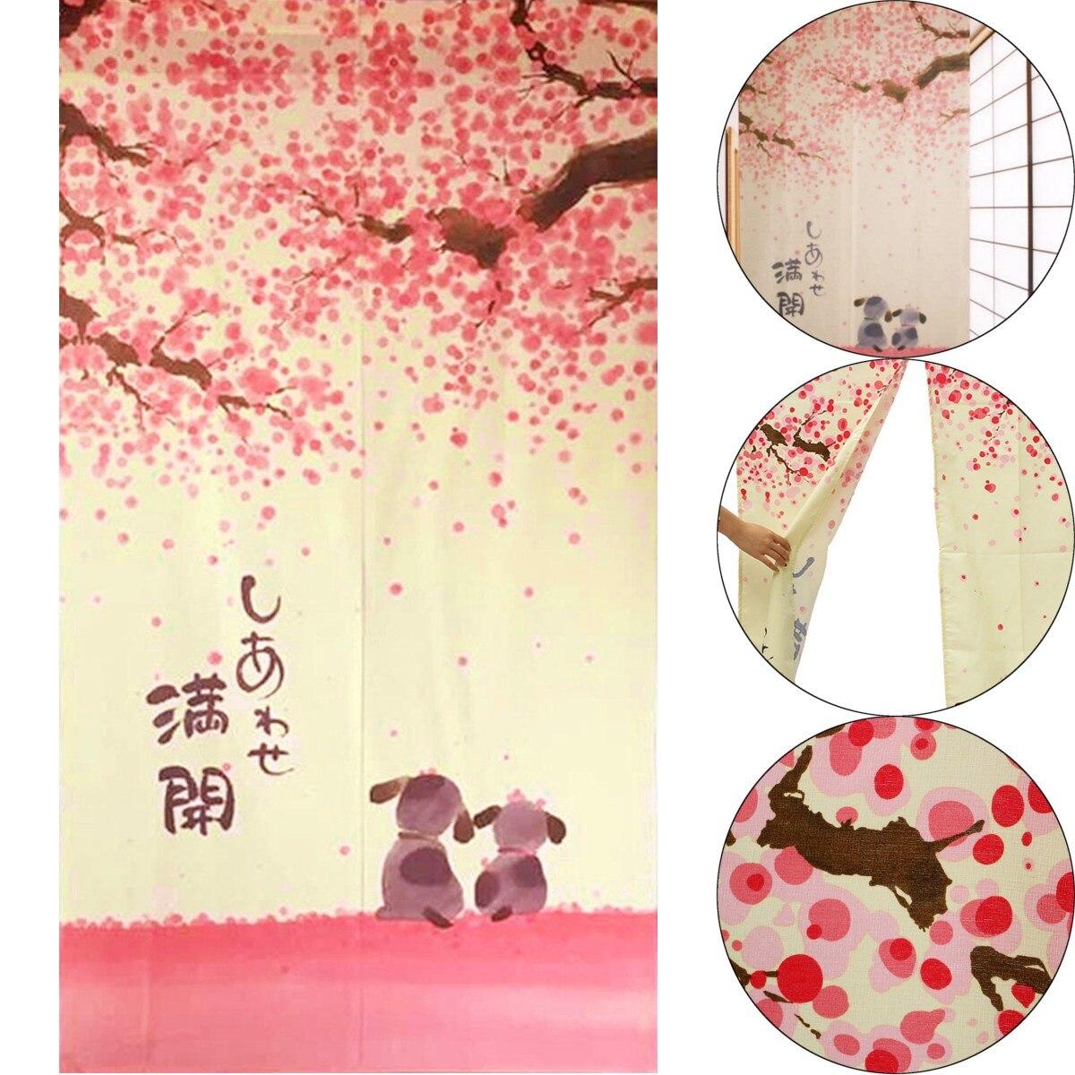 Rideau de porte décoratif motif fleur romantique   85x150cm rideau de porte décoratif cerisier et petit chien japonais Noren