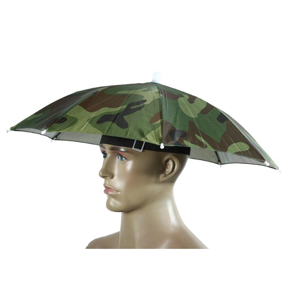 55cm Foldable Rain Umbrella Hat Army Green Outdoor Pesca Sun Shade Waterproof Camping Fishing Headwear Cap Beach Head Hats  - buy with discount