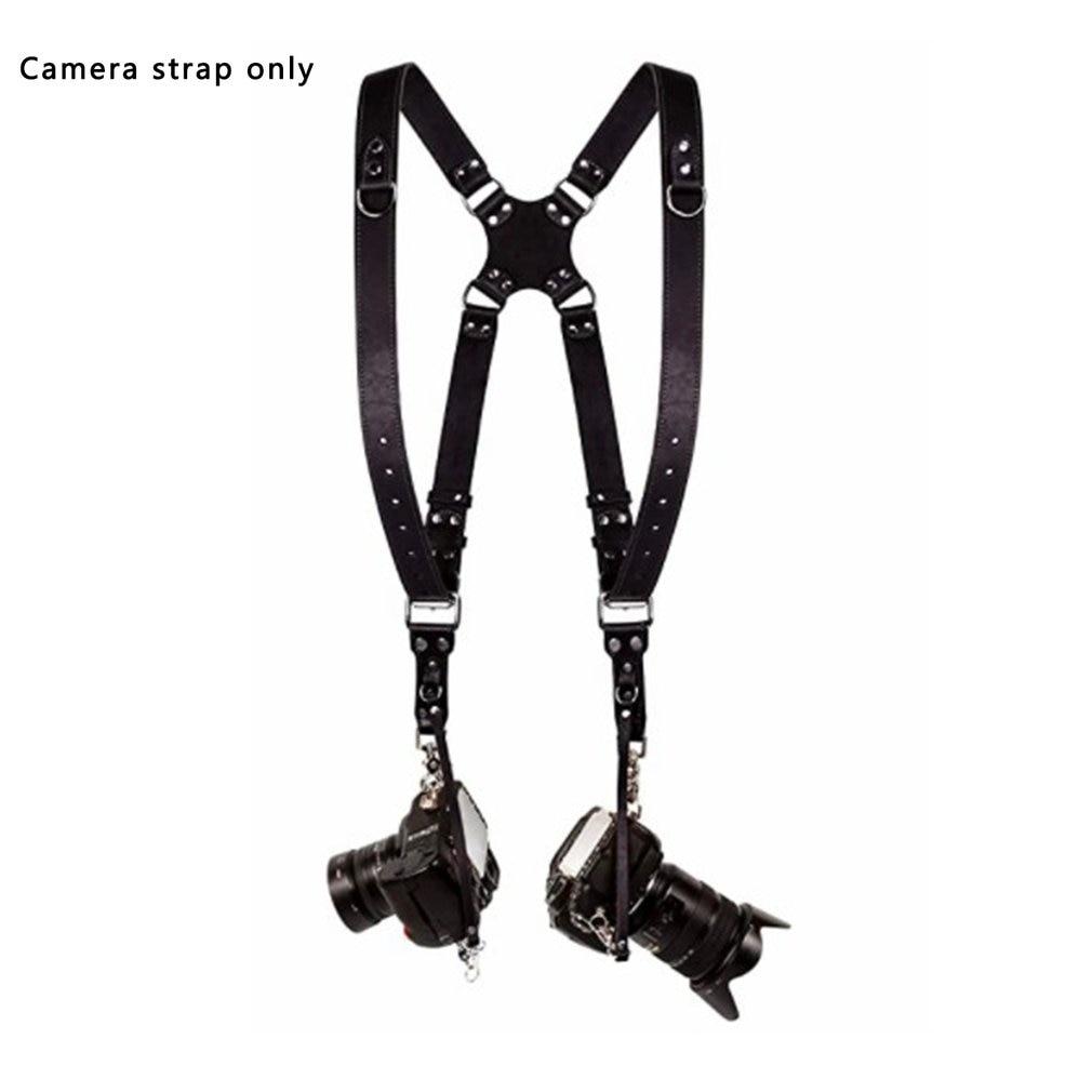 شريط كاميرا جلدية DSLR حزام مزدوج الكتف حزام التصوير الفوتوغرافي اكسسوارات كاميرا تسخير حزام