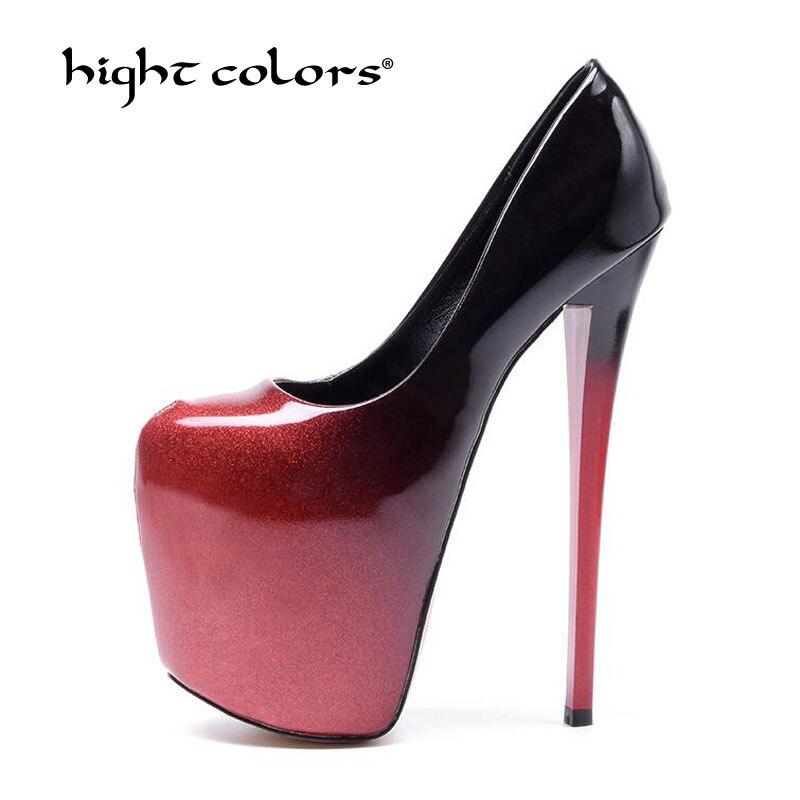 De talla grande 50 Sexy mujer bombas 19CM tacones altos extremos diseñador zapatos plataforma charol bombas Stiletto boda fiesta zapatos