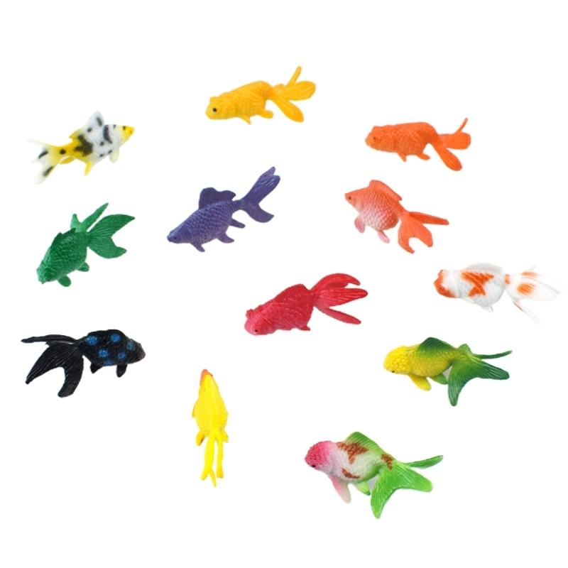 12 pçs pvc goldfishes modelos epóxi material de enchimento cristal oceano resina enchimento 83xf