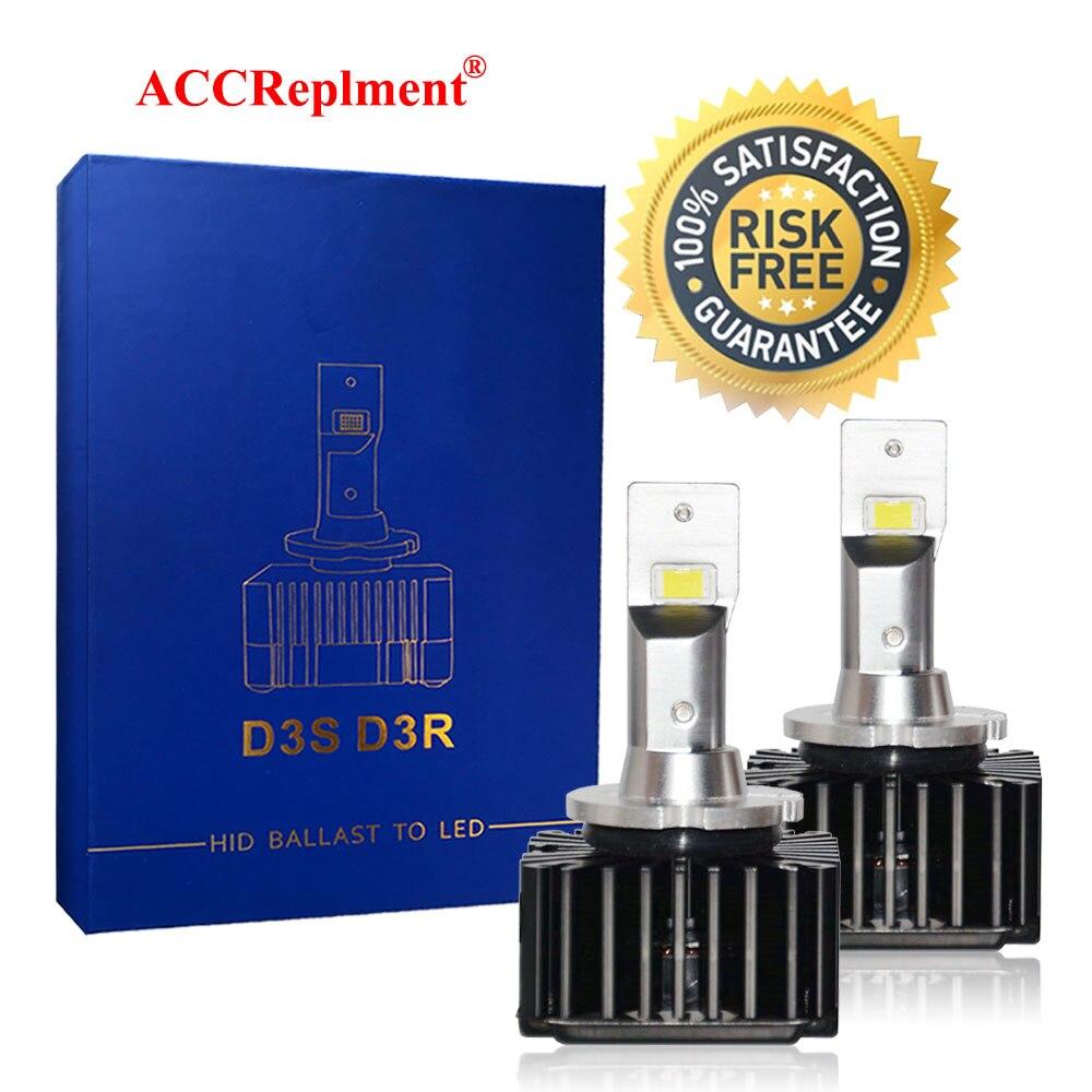 D3s d3r led farol lâmpadas kit de conversão led csp chips 6000k branco para nevoeiro lâmpada alta & baixo feixe lâmpadas substituição