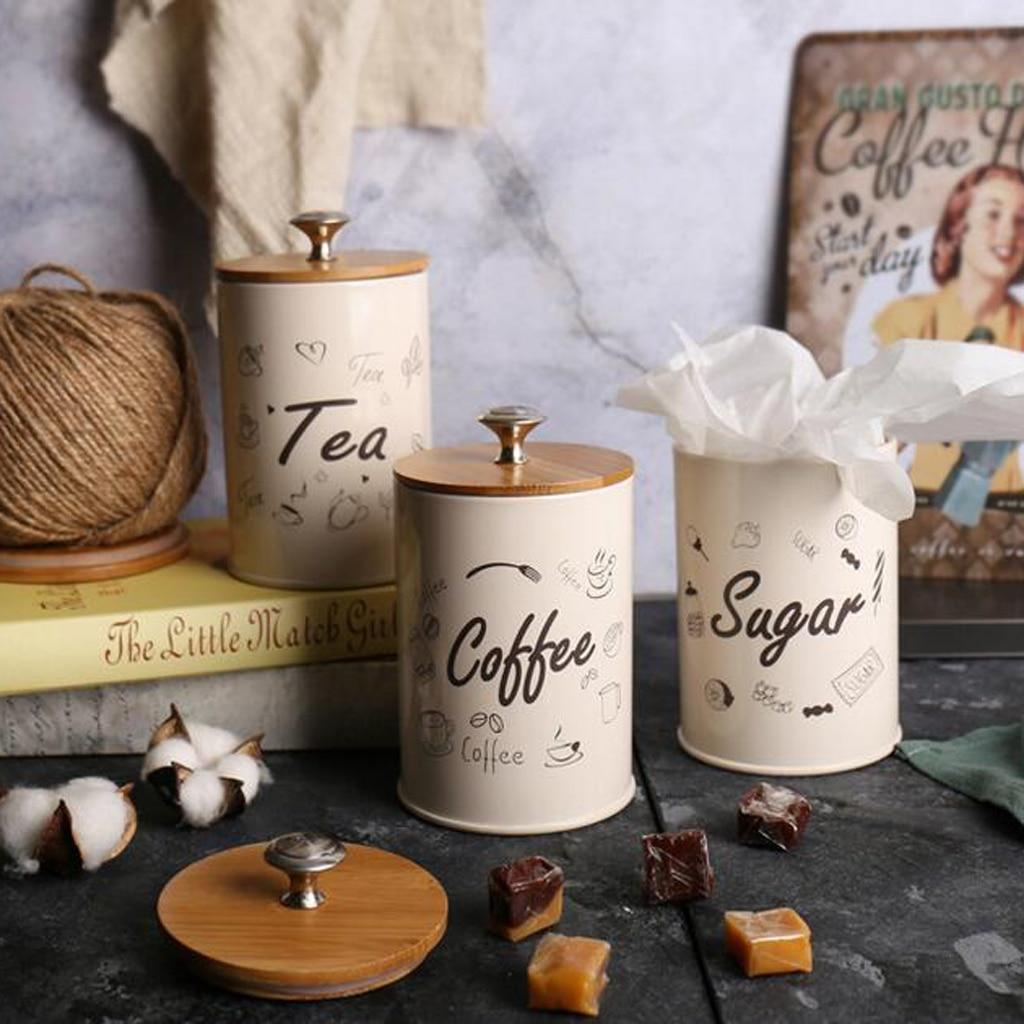 3 X Caja de galletas de Metal para café, lata de té, Bol de azúcar, recipiente para granos de café