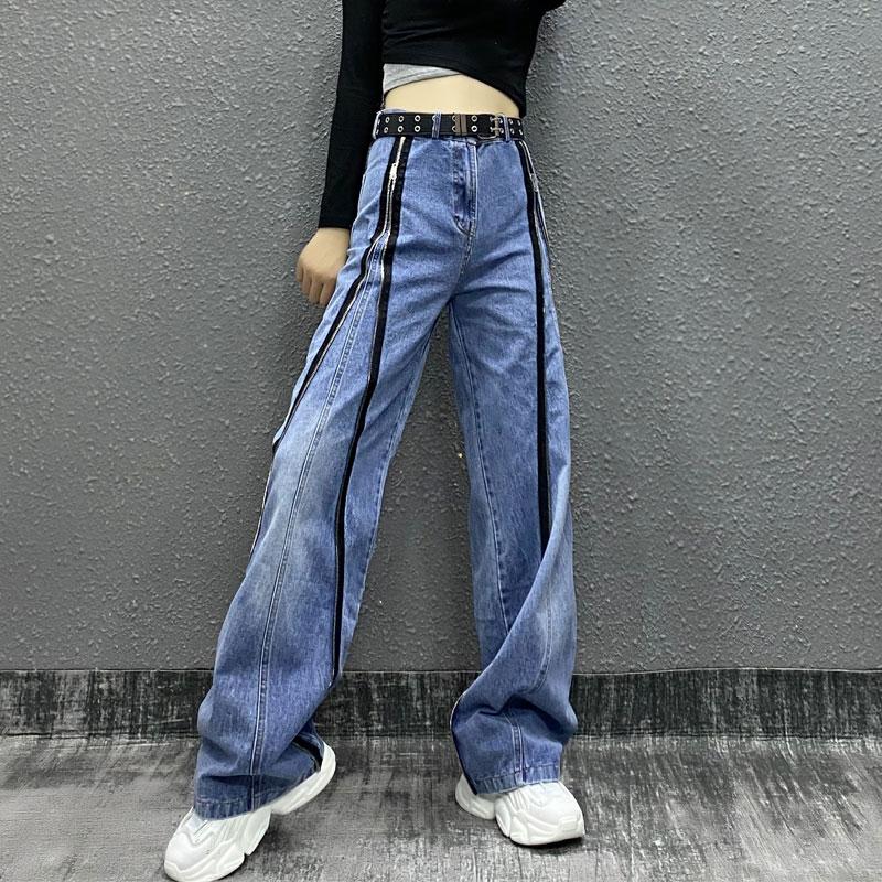 بنطلون جينز نسائي بسحاب ، بنطلون دينم عالي الخصر ، غير رسمي ، ملابس عصرية ، صيفي