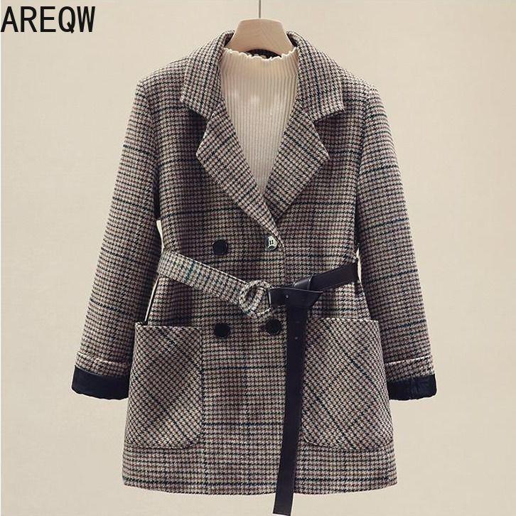 Nuevo 2020 primavera otoño chaquetas de mujer fajas prendas de vestir con muescas estilo inglés OL Vintage Plaid Blazer abrigo de lana