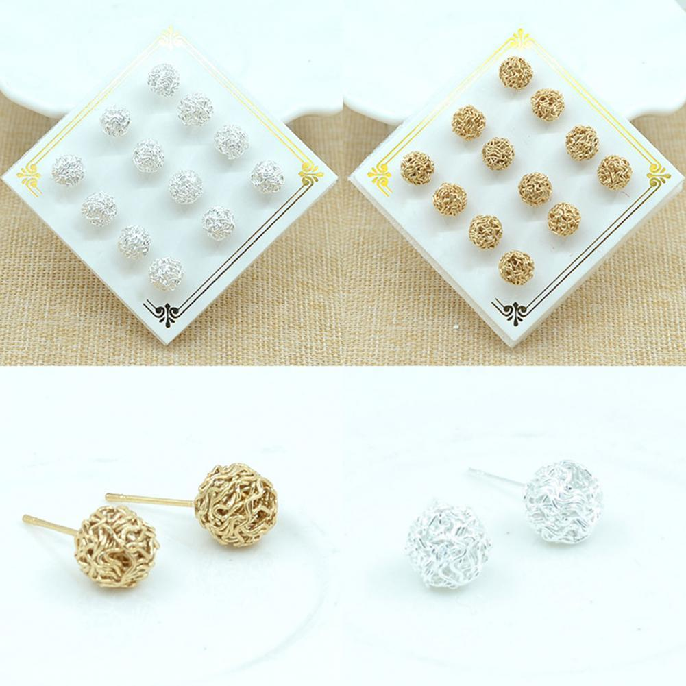 6 Pairs/Set Ear Studs Multiple Comfortable to Wear Accessories Women Wire Ball Shape Ear Studs for Daily Life fanier new charm rose gold flag zircon four ear studs mode ladies simple temperature jewel ear ball recommended marriage ball