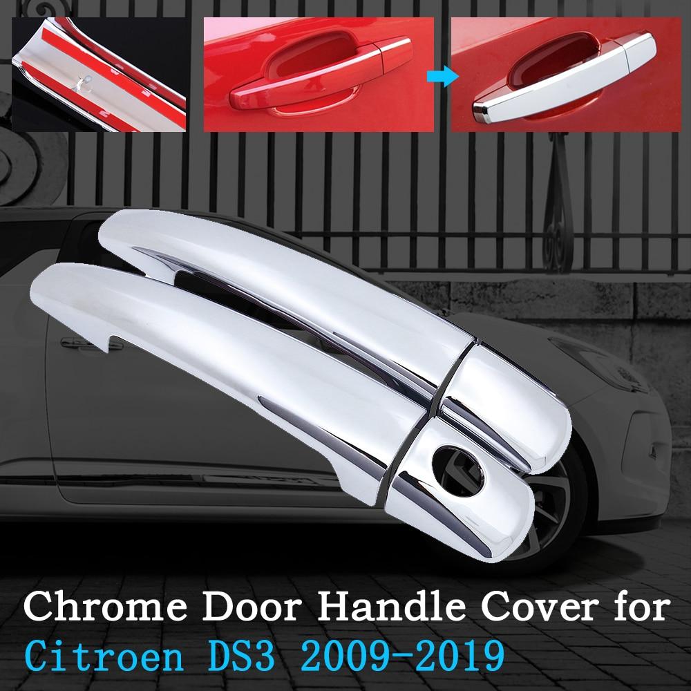 Cromo cubierta de manija de puerta de coche para Citroen DS3 2009 ~ 2019 Trim Set accesorios Exterior 2011, 2012, 2013, 2014, 2015, 2016, 2017, 2018
