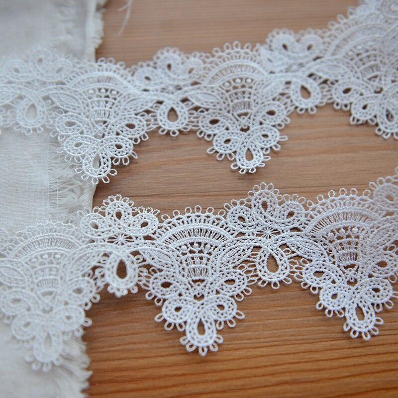2 yardas poliéster rayón hecho a mano encaje bordado de tela Trim Applique cinta artesanía de costura DIY decoración W106