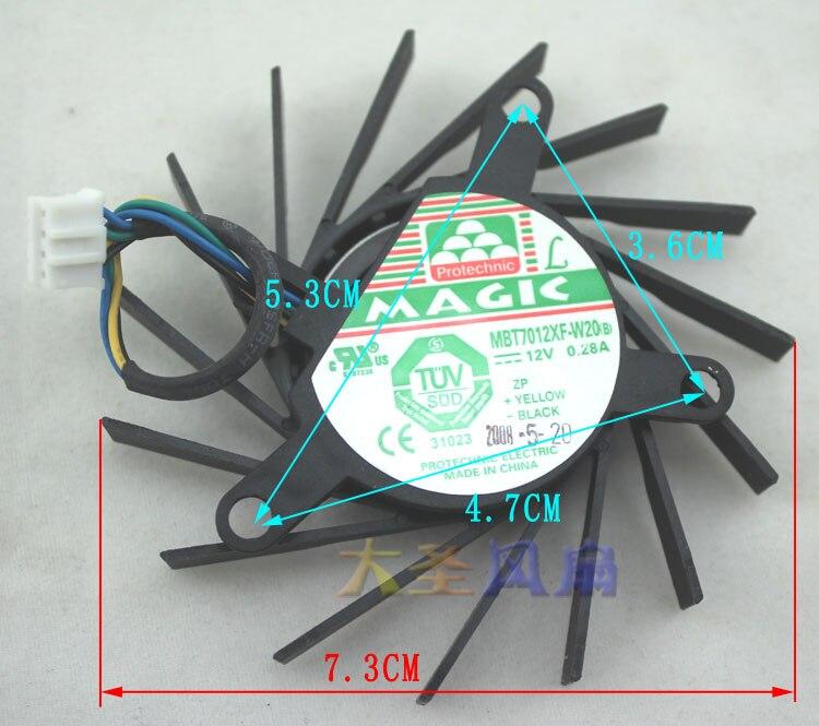 Original 9600gt 9800gt MBT7012XF-W20 preto (linha comprimento 8.5cm) placa gráfica fã luz transparente (linha comprimento 6.5cm
