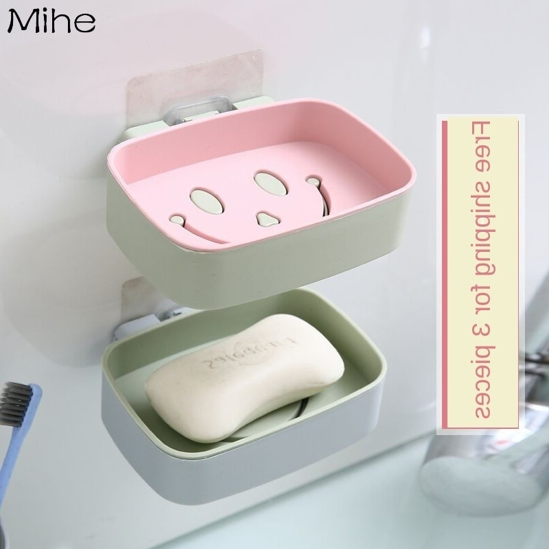 Caja de jabón de cara sonriente creativa sin perforación, estante de jabón para el baño, estante de jabón para el baño, estante de jabón para el hogar, almacenamiento montado en la pared