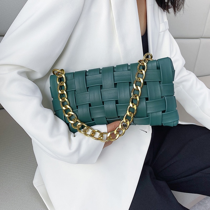 Weave Design Small PU Leather Crossbody Bags For Women 2021 Luxury Solid Color Shoulder Handbags Chain Cross Body Bag