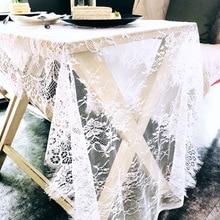 Dentelle 75X300cm blanc évider dentelle Table couverture nappe thème nordique mariage décor à la maison flanelle florale nappe décoration