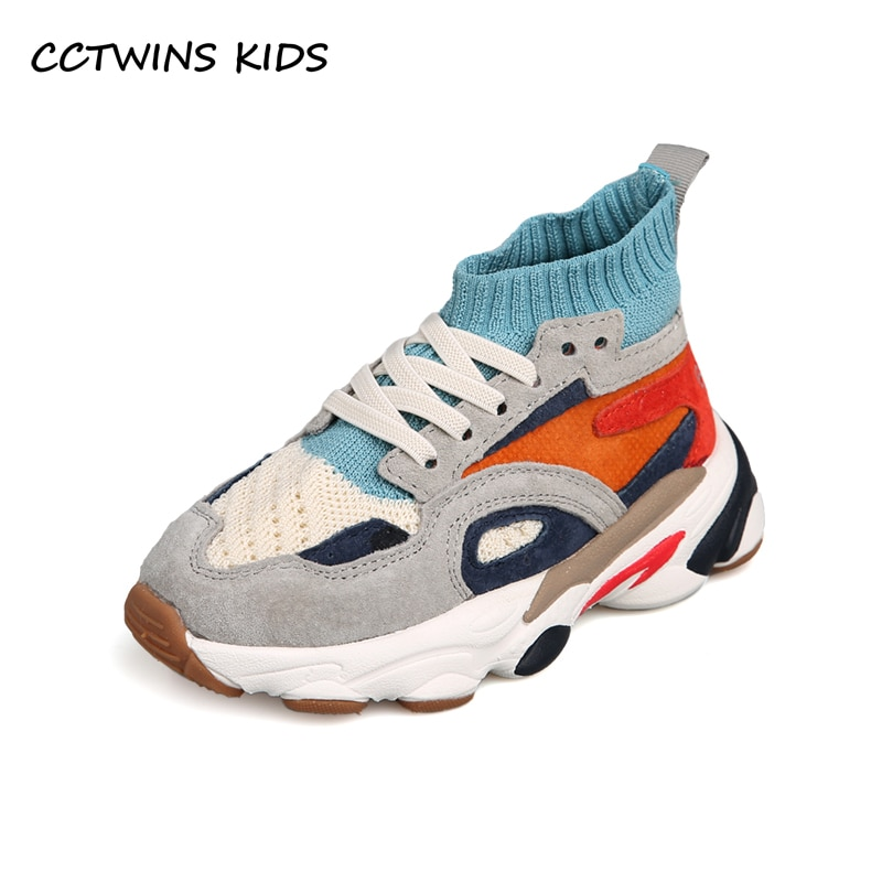 CCTWINS Kids Shoes 2020 Spring Baby Girls High Top Shoes Boys Brand Sport Sneakers Children Mesh Sli
