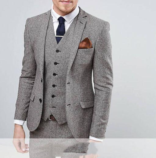 (جاكيت + بنطلون + سترة) جاكيت رجالي من التويد باللون الرمادي مكون من 3 قطع من ملابس حفلات العرسان للرجال 2021 سترة مصنوعة حسب الطلب