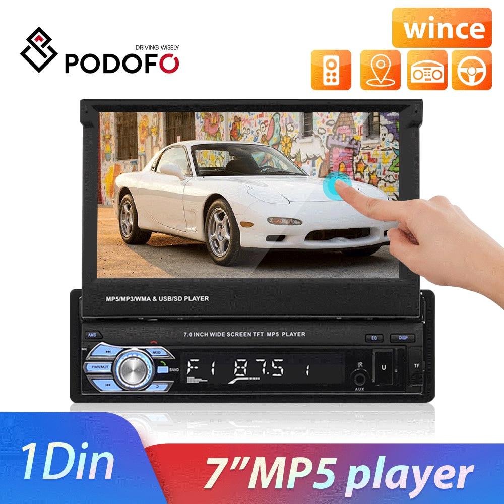 Podofo Auto Radio Stereo 1DIN Audio Multimedia-Player 7 Versenkbare Bildschirm Spiegel Link Universal FM Empfänger Bluetooth Autoradio