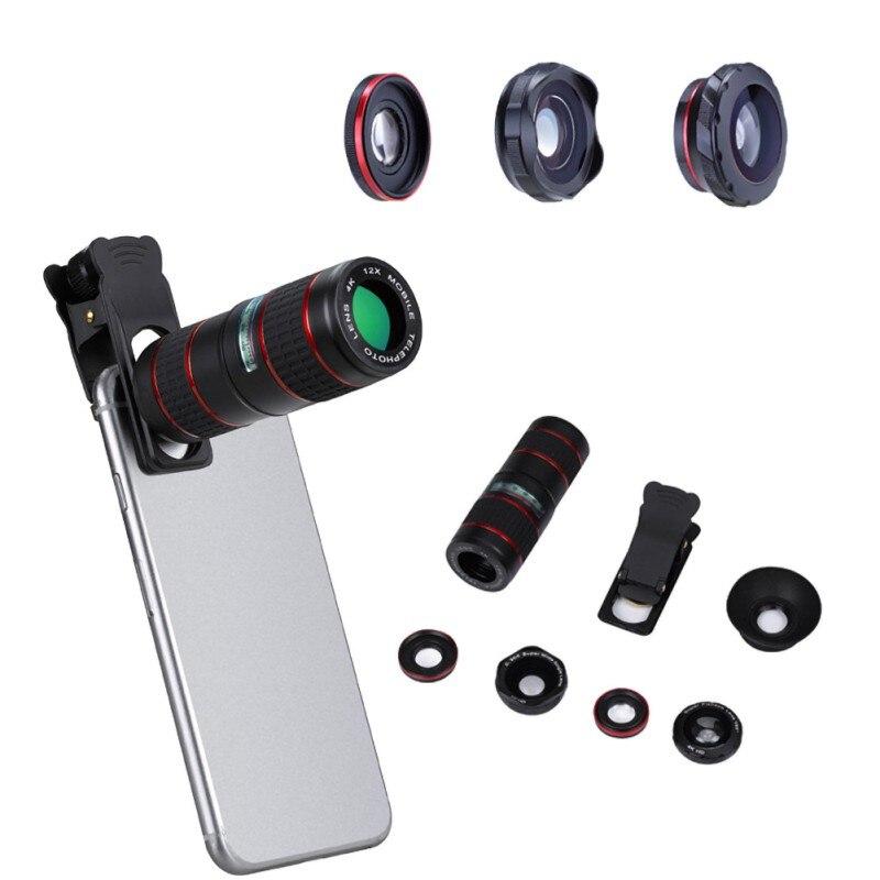 Lente de ojo de pez Multi 5 en 1 de Color negro, 12X, teleobjetivo ajustable, lente de ojo de pez de gran angular con Estuche portátil